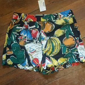 Jcrew tropical fruit cactus shorts NWT